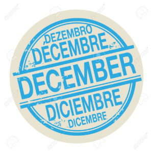 Grunge rubber stamp with the word December in different languages written inside the stamp, vector illustration