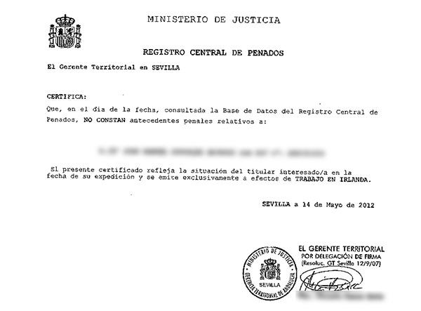 Sworn Translation of a Criminal Record Certificate